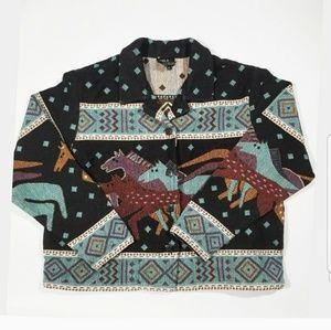 Artsy Vintage Colorful Horse Button Up Jacket Coat